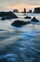 Sunset on Bandon Beach and Bandon Pinnacles, Bandon Oregon