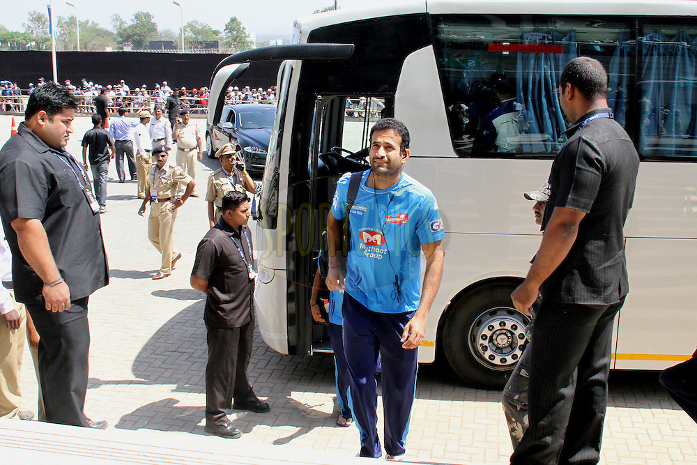 Irfan Pathan arrives for match 31 of the the Indian Premier League ( IPL) 2012  between The Pune Warriors India and the Delhi Daredevils held at the Subrata Roy Sahara Stadium, Pune on the 24th April 2012..Photo by Prashant Bhoot/IPL/SPORTZPICS
