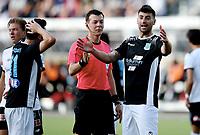 Fotball , 29 . juni 2017 , ODD - BALLYMENA UNITED<br /> UEFA Europe League<br /> <br />  Olivier Occean , Odd<br /> Johhny Flynn , BU  <br /> dommer / referee Edin Jakupovic
