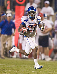 Sep. 18, 2009; Fresno, CA, USA; Boise State Broncos running back Jeremy Avery (27) during a 67 yard reception for a touchdown during the fourth quarter of the Fresno State Bulldogs game at Bulldog Stadium. Boise State defeated Fresno State 51-34.