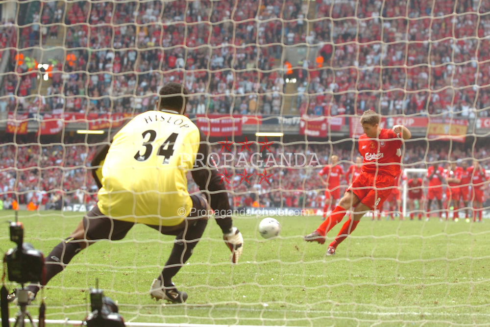 CARDIFF, WALES - SATURDAY, MAY 13th, 2006: Liverpool's Steven Gerrard blasts his spot-kick past West Ham United's Shaka Hislop during the shoot-out to decide the FA Cup Final at the Millennium Stadium. (Pic by Jason Roberts/Propaganda)