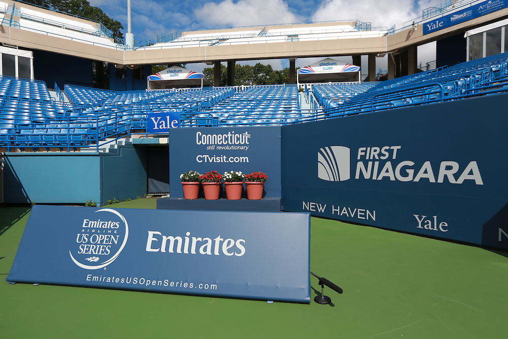 August 23, 2014, New Haven, CT:<br /> Stadium signage photos on day nine of the 2014 Connecticut Open at the Yale University Tennis Center in New Haven, Connecticut Saturday, August 23, 2014.<br /> (Photo by Billie Weiss/Connecticut Open)
