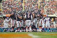 25 November 2012: Quarterback (6) Jay Cutler of the Chicago Bears huddles up the offense against the Minnesota Vikings during the second half of the Bears 28-10 victory over the Vikings in an NFL football game at Soldier Field in Chicago, IL.