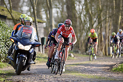 Lotte Kopecky leads across the final cobbles at Drentse 8 2017. A 143 km road race on March 12th 2017, starting and finishing in Dwingeloo, Netherlands. (Photo by Sean Robinson/Velofocus)