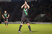 Stoke City midfielder Charlie Adam applauds the travelling support as he is substituted during the The FA Cup third round match between Doncaster Rovers and Stoke City at the Keepmoat Stadium, Doncaster, England on 9 January 2016. Photo by Simon Davies.