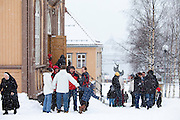 Locals attend Sunday Mass at Catholic Church of Our Lady in Storgata,Tromso within the Arctic Circle in Northern Norway