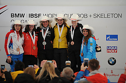 February 23, 2019 - Calgary, Alberta, Canada - Iuliia Kanakina (Russia) on the right, and Elena Nikitina (russia) on the left are on the stage during the medal ceremony at BMW IBSF SKELETON WORLD CUP Calgary Canada 23.02.2019 (Credit Image: © Russian Look via ZUMA Wire)