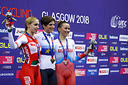 Podium, Women Points Race, Maria Giulia Confalonieri (Italy) Gold medal, Ina Savenka (Belarus) silver medal, Gulnaz Badykova (Russian Federation) Bronze medal, during the Track Cycling European Championships Glasgow 2018, at Sir Chris Hoy Velodrome, in Glasgow, Great Britain, Day 3, on August 4, 2018 - Photo Luca Bettini / BettiniPhoto / ProSportsImages / DPPI - photo Luca Bettini/BettiniPhoto©2018
