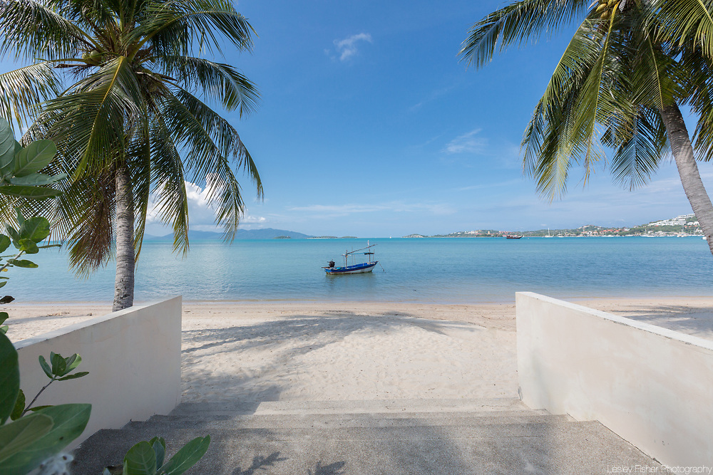 Beach front a few minutes walk from Villa Divina, a private and luxury 3 bedroom villa located in Plumeria Place, a private residence in Bang Rak, Koh Samui, Thailand