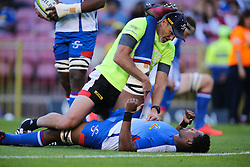 Sikhumbuzo Notshe of the DHL Stormers gets some treatment before the match during the Vodacom Super Rugby match between the DHL Stormers and the Emirates Lions at DHL Newlands in Cape Town, South Africa, Saturday May 26 2018. <br /> (Roger Sedres/ANA)