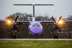 © Licensed to London News Pictures. 13/01/2020. Leeds UK. A flybe aircraft destined for Belfast City at Leeds Bradford airport this morning as the company holds rescue talks. Flybe, Europe's largest regional airline, is scrambling to stave off a collapse that would put 2,000 jobs at risk. The airline operates more UK domestic flights than any other, and is in talks over potential emergency financing after suffering rising lossesPhoto credit: Andrew McCaren/LNP