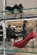 Shoes on display at night in the prestigious Maruei Department Store in the trendy Sakae district of Nagoya Japan.
