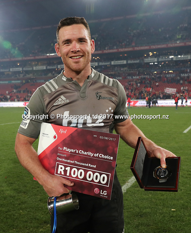 Ryan Crotty of the Crusaders wins Man of the Match award after winning the 2017 Super Rugby Final against the Lions at Ellis Park, Johannesburg on 05 August 2017 ©Gavin Barker/BackpagePix / www.photosport.nz