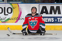 KELOWNA, CANADA - DECEMBER 7: Rodney Southam #17 of the Kelowna Rockets stretches on the ice during warm up against the Seattle Thunderbirds on December 7, 2016 at Prospera Place in Kelowna, British Columbia, Canada.  (Photo by Marissa Baecker/Shoot the Breeze)  *** Local Caption ***