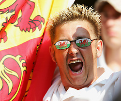CARDIFF, WALES - SATURDAY, SEPTEMBER 3rd, 2005: A Wales fan cheers his side on against England during the World Cup Qualifier at the Millennium Stadium. (Pic by David Rawcliffe/Propaganda)