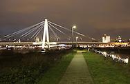 DEU, Germany, Cologne, the Severins bridge across the river Rhine, behind the bridge the cathedral.....DEU, Deutschland, Koeln, die Severinsbruecke ueber den Rhein, hinter der Bruecke der Dom...