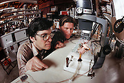 Cryonics experiment on a hamster conducted in a garage laboratory in Berkeley, California, by Paul Segall (left). MODEL RELEASED 1988..