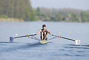 Hazewinkel, BELGIUM, Men's Lightweight Single Scull, ]LM1X] Danny HARTE, moving away from  the start pontoon in the Sunday, semi final, during the GB Rowing Senior Trials, on Sun,15.04.2007  [Credit, Peter Spurrier/Intersport-images]   [Mandatory Credit, Peter Spurier/ Intersport Images]. , Rowing Course, Bloso, Hazewinkel. BELGUIM
