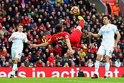 Adam Lallana of Liverpool attemps an overhead kick - Mandatory by-line: Matt McNulty/JMP - 21/01/2017 - FOOTBALL - Anfield - Liverpool, England - Liverpool v Swansea City - Premier League