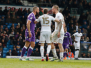 Bolton Wanderers forward Aaron Wilbraham and Leeds United defender Pontus Jansson square up during the EFL Sky Bet Championship match between Leeds United and Bolton Wanderers at Elland Road, Leeds, England on 30 March 2018. Picture by Paul Thompson.