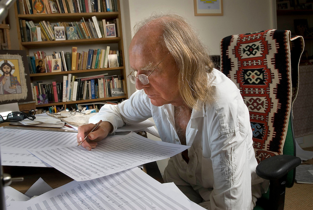 Composer Sir John Tavener at his home in Child Okeford. Photographed in his study of his house..