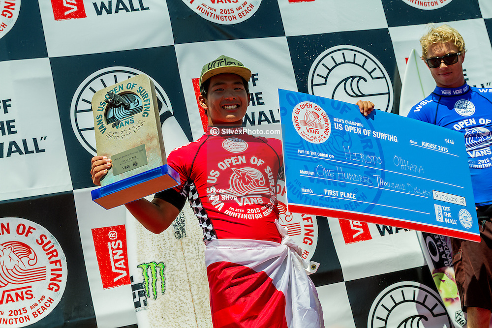 HUNTINGTON BEACH, CA - pro surfer Hiroto Ohhara (JPN) claimed the biggest result of his career today winning the Vans US Open of Surfing Men's QS 10,000 after defeating Tanner Hendrickson (HAW) in a hard-fought Final. The result propelled Ohhara up 68 places on the QS rankings to 13th place, putting him within reach of qualifying for the Top 34 in 2016. Ohhara became the first Japanese surfer to make the Final at the Vans US Open of Surfing after defeating local favorite Kanoa Igarashi (USA) in the opening Semifinal. Taking eight waves to Igarashi's three, Ohhara edged the win and sent the Huntington Beach local home in third place. 2015 Aug 2.  Byline, credit, TV usage, web usage or linkback must read SILVEXPHOTO.COM. Failure to byline correctly will incur double the agreed fee. Tel: +1 714 504 6870.