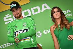 July 14, 2018 - Amiens Metropole, FRANCE - Slovak Peter Sagan of Bora-Hansgrohe celebrates on the podium in the green jersey of leader in the sprint ranking after the eighth stage of the 105th edition of the Tour de France cycling race, from Dreux to Amiens Metropole (181 km), in France, Saturday 14 July 2018. This year's Tour de France takes place from July 7th to July 29th. BELGA PHOTO DAVID STOCKMAN (Credit Image: © David Stockman/Belga via ZUMA Press)