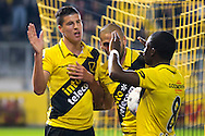 BREDA, NAC Breda - Go Ahead Eagles, voetbal Eredivisie, seizoen 2013-2014, 26-10-2013, Rat Verlegh Stadion, NAC Breda speler Stipe Perica (L) heeft de 5-0 gescoord, NAC Breda speler Jeffrey Sarpong (R).
