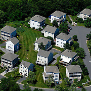 Aerial view of single family home development, neighborhood outside Baltimore, Maryland