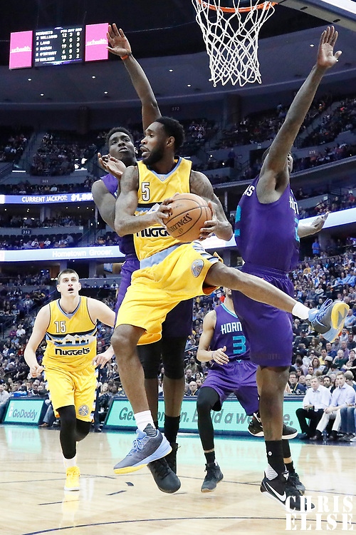 04 March 2017: Denver Nuggets guard Will Barton (5) passes the ball during the Charlotte Hornets 112-102 victory over the Denver Nuggets, at the Pepsi Center, Denver, Colorado, USA.