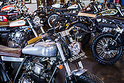 Custom Motorcycles on display at Deus Showroom.