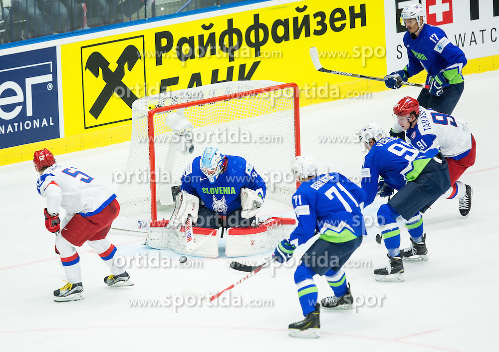 Sergei Shirokov of Russia vs Luka Gracnar of Slovenia during Ice Hockey match between Russia and Slovenia at Day 3 in Group B of 2015 IIHF World Championship, on May 3, 2015 in CEZ Arena, Ostrava, Czech Republic. Photo by Vid Ponikvar / Sportida