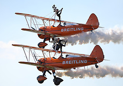 06.09.2015, Airbase, Rivolto, ITA, Payerne, Flugshow anlässlich des 55. Geburtstag der Frecce Tricolori, im Bild Breitling Wingwalkers // during the Airshow on the occasion of the 55th anniversary of the Frecce Tricolori at the Airbase in Rivolto, Italy on 2015/09/06. EXPA Pictures © 2015, PhotoCredit: EXPA/ Eibner-Pressefoto/ Neurohr<br /> <br /> *****ATTENTION - OUT of GER*****
