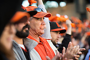 Some San Francisco Giants fans dyed their mustaches and other hair to support their team during the NLCS Game 7 between the San Francisco Giants and the St. Louis Cardinals on Oct. 22, 2012 in San Francisco, Calif.  The Giants would go on to win, 9-0, making their second World Series appearance in 3 years.  Photo by Stan Olszewski/SOSKIphoto.