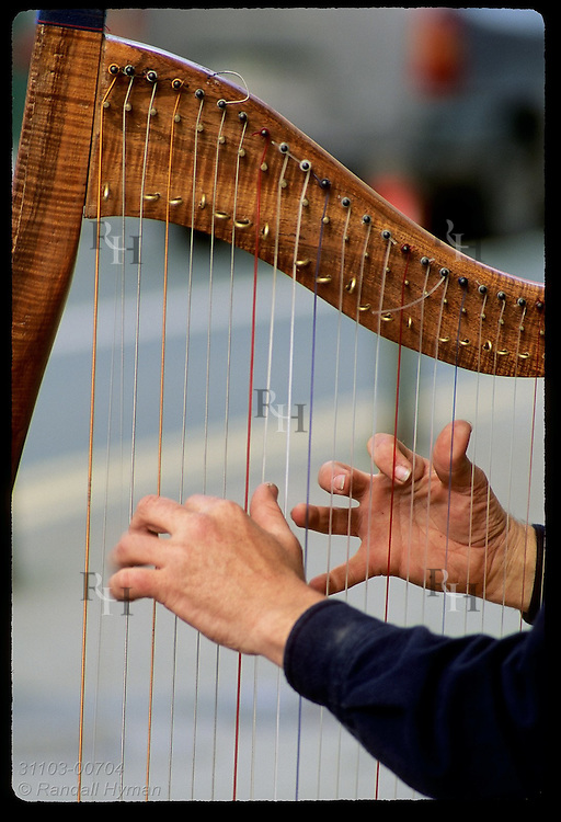 Well-practiced hands pluck strings of a Celtic harp; Dingle, Ireland.