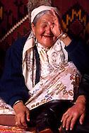 Shadan Tonbetova, Kazakh matriarch in a Yurt, Shieli Village, Kazakhstan.