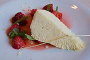 Neufelden, Austria. The gourmet restaurant at Genießerhotel Mühltalhof.<br /> Luftiges Heuparfait mit Eferdinger Erdbeeren (Airy Hay Parfait with Strawberries from Eferding).