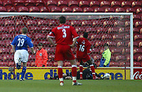 Photo. Andrew Unwin.Digitalsport<br /> Middlesbrough v Leicester City, Barclaycard Premier League, Riverside Stadium, Middlesbrough 17/01/2004.<br /> Leicester's Ian Walker (r) saves a penalty taken by Middlesbrough's Josesph Desire-Job (16).
