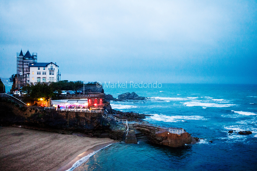 Late afternoon view of the old port and citiy of Biarritz, France.