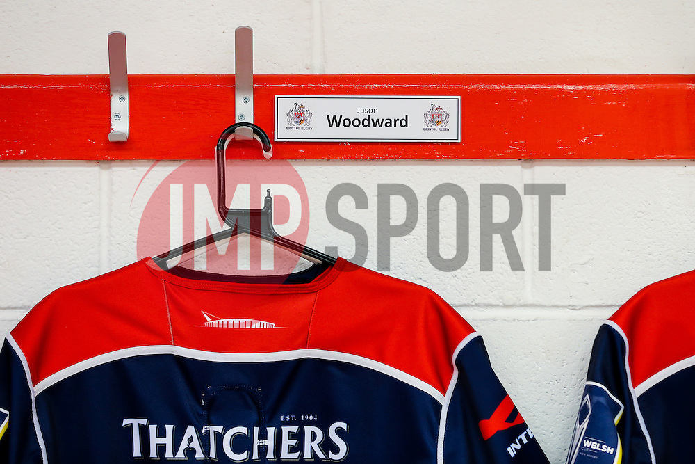 Jason Woodward of Bristo Rugby's shirt hangs in the dressing room ahead of his debut of the club - Rogan Thomson/JMP - 11/11/2016 - RUGBY UNION - Ashton Gate Stadium - Bristol, England - Bristol Rugby v Sale Sharks - Anglo Welsh Cup.