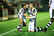 Forest Green Rovers Fabien Robert(26) and Forest Green Rovers Liam Noble(15) celebrate the former scoring his second goal, 0-4 during the Vanarama National League match between Aldershot Town and Forest Green Rovers at the EBB Stadium, Aldershot, England on 4 October 2016. Photo by Shane Healey.