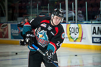 KELOWNA, CANADA - NOVEMBER 15: Kyle Topping #24 of the Kelowna Rockets warms up against the Prince George Cougars on November 15, 2016 at Prospera Place in Kelowna, British Columbia, Canada.  (Photo by Marissa Baecker/Shoot the Breeze)  *** Local Caption ***