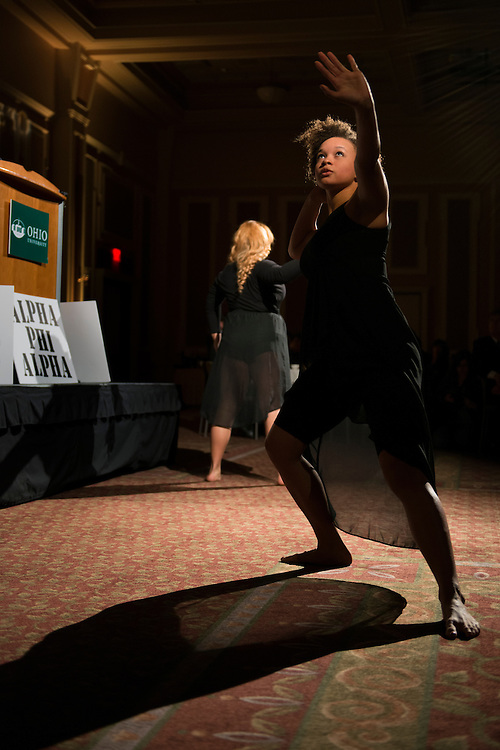 Members of the Athens Black Contemporary Dancers, Zari Rose (front) and Deneisha Franklin perform at the 14th Annual Dr. MArtin Luther King Jr. Brunch. (Photo by Olivia Wallace)