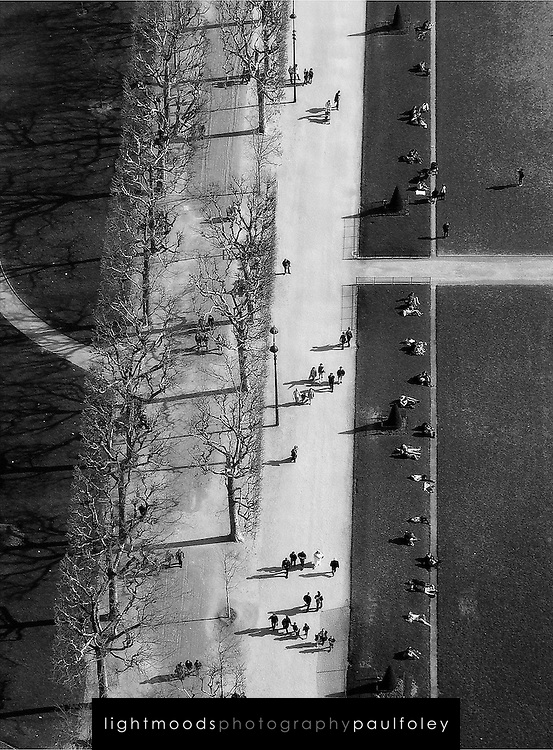 Looking down from the Eiffel Tower, Paris France