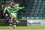 Forest Green Rovers Dayle Grubb(8) takes a free kick during the EFL Trophy 3rd round match between Yeovil Town and Forest Green Rovers at Huish Park, Yeovil, England on 9 January 2018. Photo by Shane Healey.