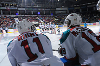 KELOWNA, CANADA, FEBRUARY 11: Carter Rigby #11 and Shane McColgan #18 of the Kelowna Rockets stand on the bench as the Kamloops Blazers visit the Kelowna Rockets on February 11, 2012 at Prospera Place in Kelowna, British Columbia, Canada (Photo by Marissa Baecker/Shoot the Breeze) *** Local Caption ***