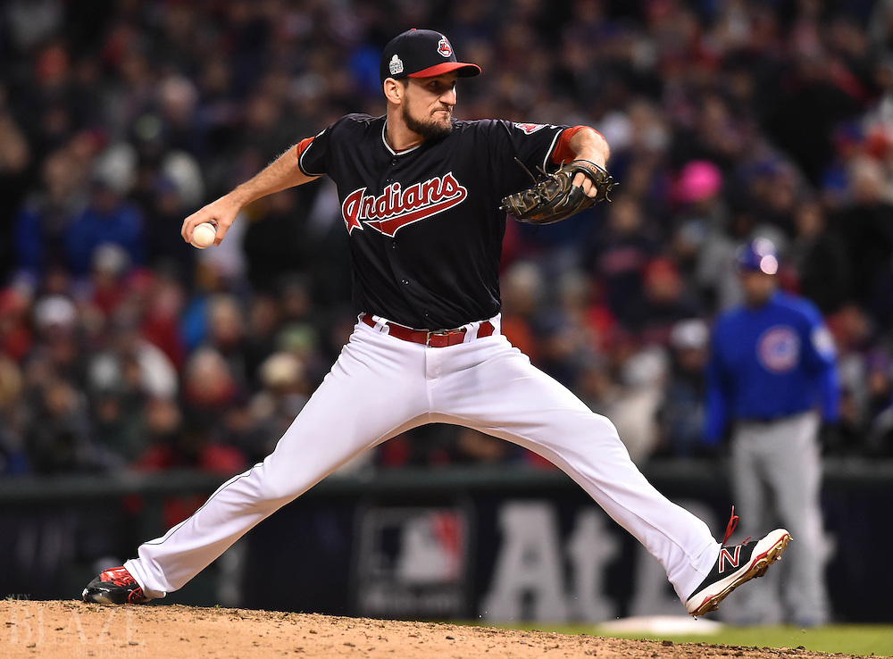 Oct 26, 2016; Cleveland, OH, USA; Cleveland Indians relief pitcher Dan Otero throws against the Chicago Cubs in the 7th inning in game two of the 2016 World Series at Progressive Field. Mandatory Credit: Ken Blaze-USA TODAY Sports