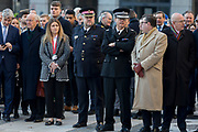 Three days after the killing of Jack Merritt, 25, and Saskia Jones, 23, by the convicted teorrorist Usman Khan at Fishmongers' Hall on London Bridge, friends and families of the victims and Prime Minister Boris Johnson, Leader of the Opposition Jeremy Corbyn, London Mayor Sadiq Khan plus City and police officials, hold a vigil at the Guildhall in the City of London, on 2nd December 2019, in London, England.