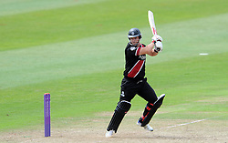 Somerset's Jim Allenby cuts the ball - Photo mandatory by-line: Harry Trump/JMP - Mobile: 07966 386802 - 29/07/15 - SPORT - CRICKET - Somerset v Durham - Royal London One Day Cup - The County Ground, Taunton, England.