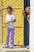 GOBI DESERT, MONGOLIA..09/02/2001.Kids at Bogd..(Photo by Heimo Aga).
